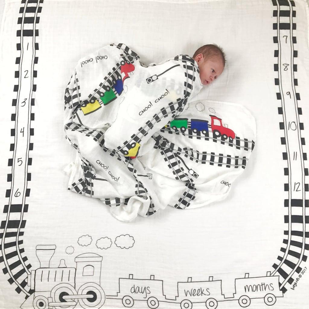 BATZKids Baby Trains Milestone Blanket