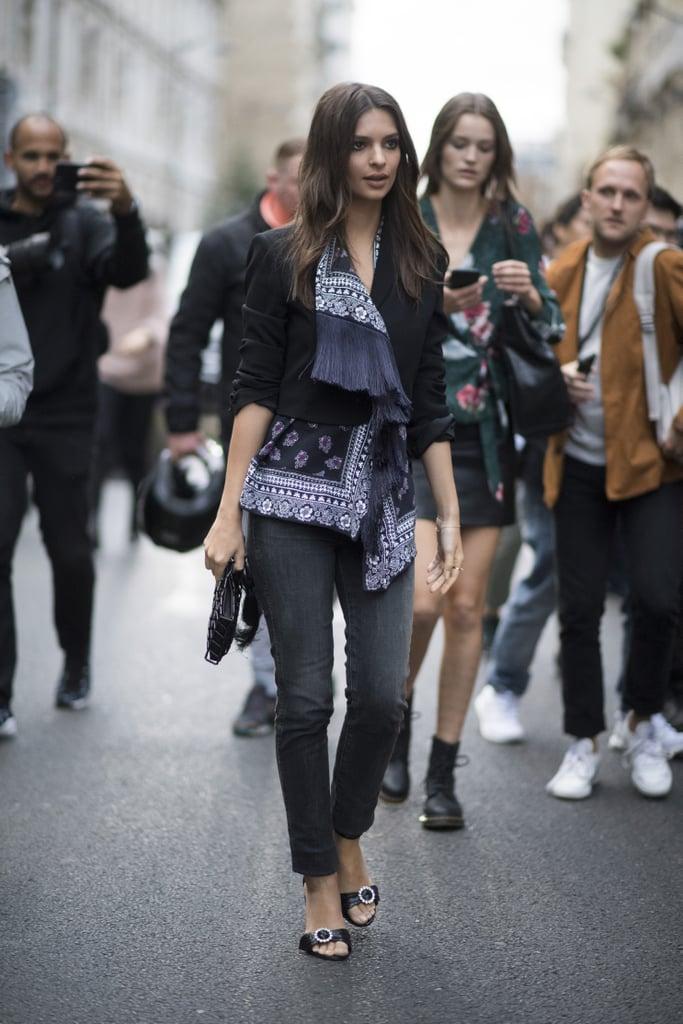 Emily Ratajkowski Was Seen Wearing an Embellished Jacket During Paris Fashion Week