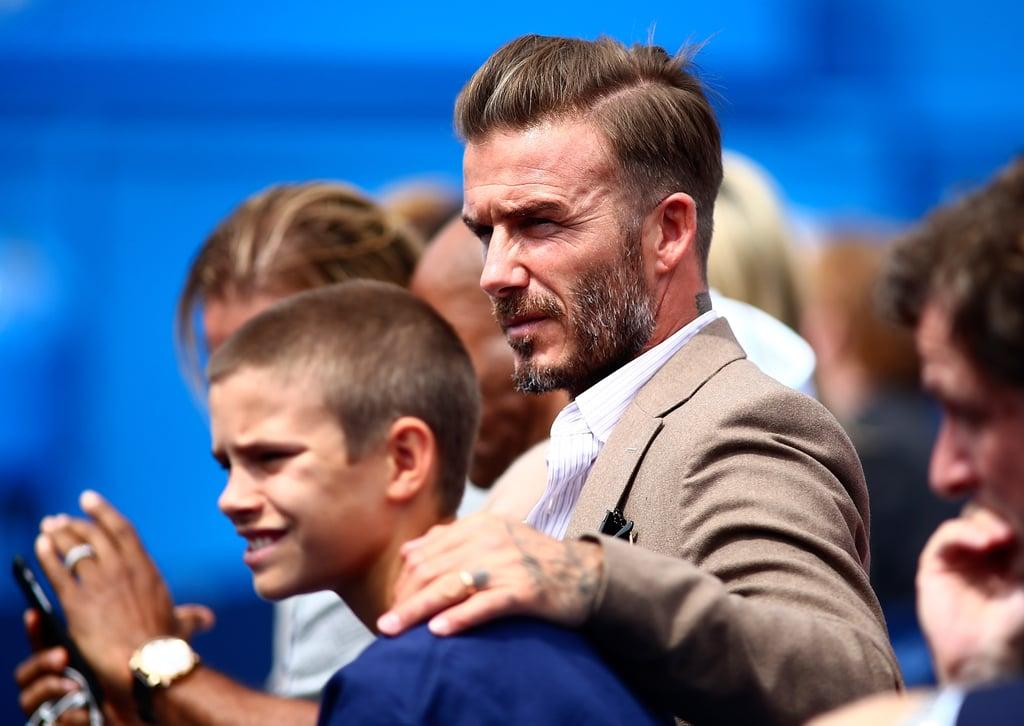 David and Romeo Beckham at Aegon Championships Tennis 2016