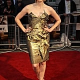 Glowing in a gold Vivienne Westwood confection at The Debt premiere in London.