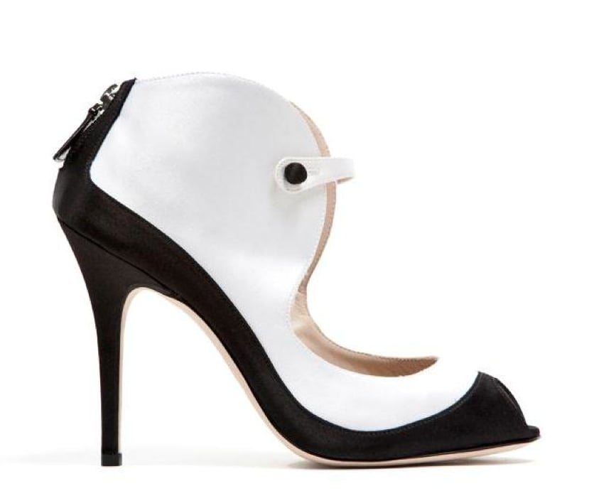 Monique Lhuillier Black Satin/White Satin Combo Sandal ($875)