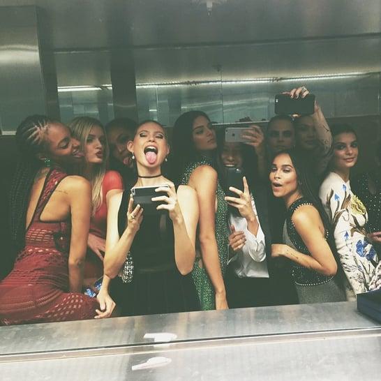 Kendall Jenner shared one seriously star-studded bathroom selfie with Zoë Kravitz, Cara Delevingne, Behati Prinsloo, Jourdan Dunn, Lily Donaldson, Bella Hadid, Emily Ratajkowski, and Alexander Wang.