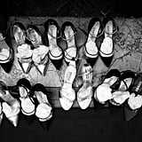 Shoes are lined up ready backstage at Rami Al Ali.
