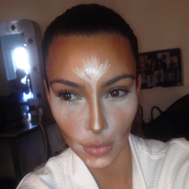 Kim Kardashian shared a little secret: the magic of contouring makeup! Source: Instagram user kimkardashian