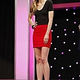 Shannon wore a brightly colored mini skirt to the judges' panel.  Photo courtesy of The CW