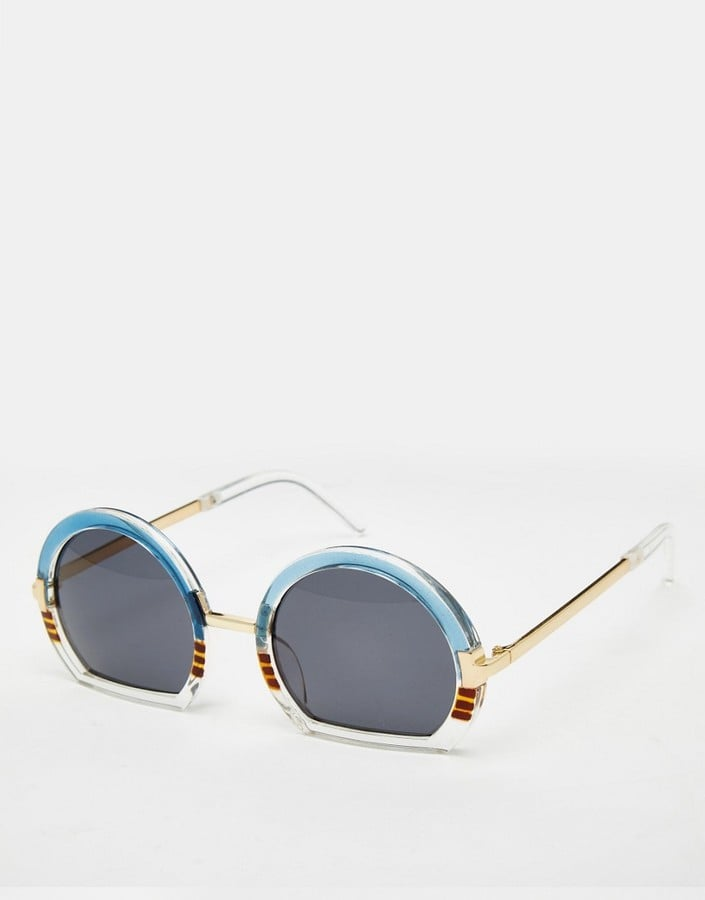 Asos Round Sunglasses With Mixed Sliced Bottom Frame ($21)