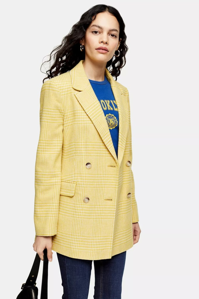 Topshop Yellow Check Double-Breasted Blazer