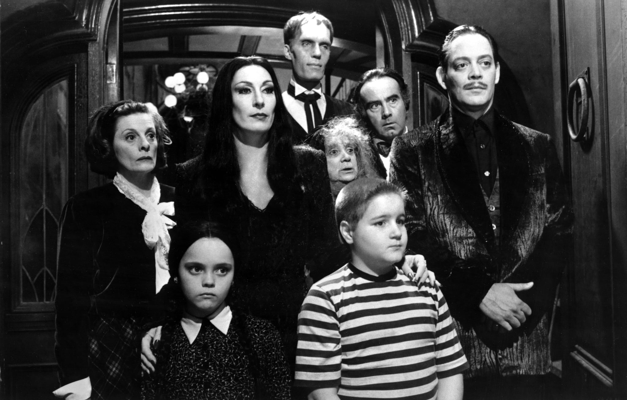 THE ADDAMS FAMILY, Dana Ivey, Christina Ricci, Anjelica Huston, Carel Struycken, Judith Malina, Jimmy Workman, Dan Hedaya, Raul Julia, 1991