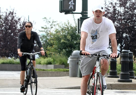 Justin Timberlake and girlfriend Jessica Biel take an afternoon bike ride through Hudson River Park