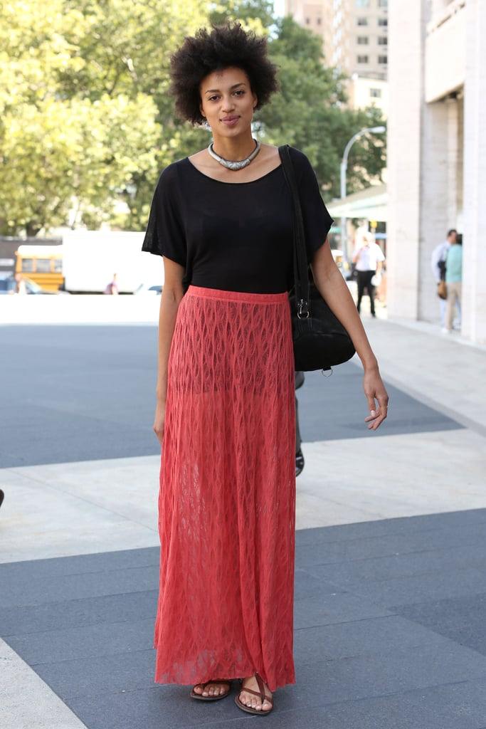 A crochet maxi offset a basic black tee — then we got a touch of tribal-feeling jewels.