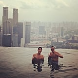 Cash Warren took in the view during a Summer visit to Singapore. Source: Instagram user cash_warren