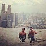 Cash Warren took in the view during a Summer visit to Singapore. Source: Instagram user cash_warren