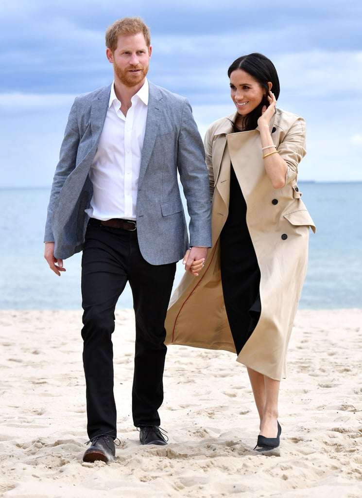 Prince Harry and Meghan Markle are known for their sweet PDA, but they've taken things to the next level with their first royal tour as a married couple. During their recent appearances in Australia and Fiji, the couple have been especially lovey-dovey as they hold hands, cuddle up under an umbrella, and stare lovingly into each other's eyes. Seriously, it's like a scene from a romantic comedy. Of course, their happy mood could have to do with the fact that they're getting ready to expand their family. Shortly before embarking on their tour, the couple announced the exciting news that they are expecting their first child. See even more swoon-worthy moments from their tour ahead.       Related:                                                                                                           100+ Times Harry and Meghan Showed Us That They're the Perfect Royal Match