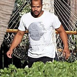 Donald Faison took a walk to the beach in Maui.