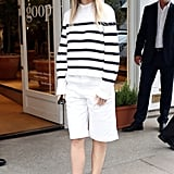 Gwyneth Paltrow Wearing a Striped Sweater and Shorts