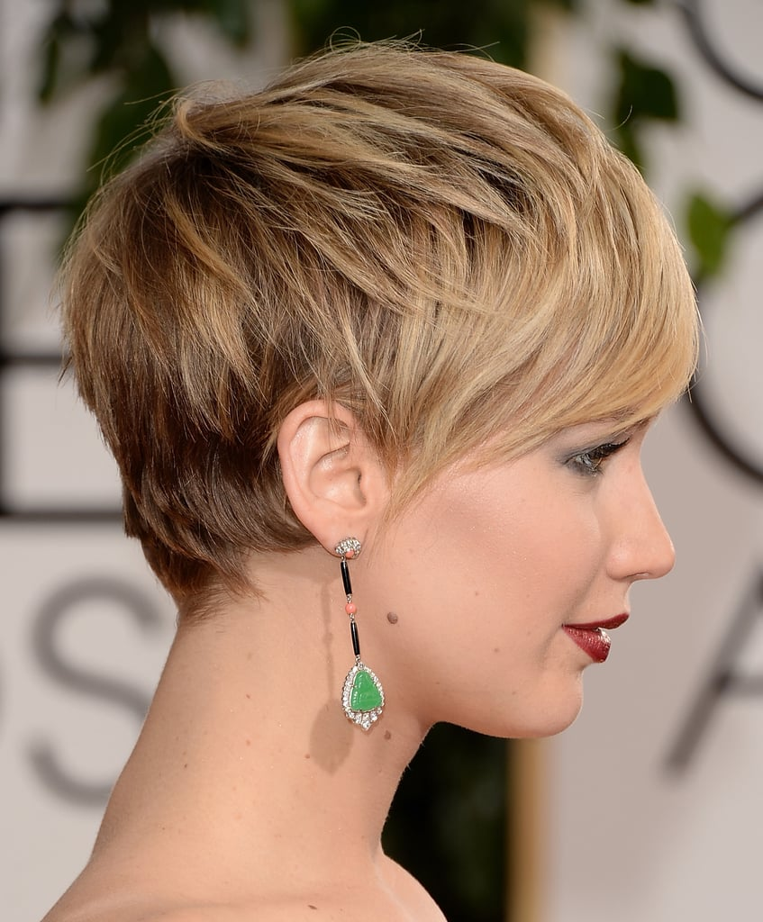 The best part about Jennifer Lawrence's short hair? We got a clear shot of those jewel-drop Neil Lane earrings!