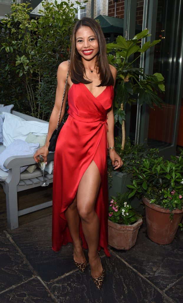Favouring red again, and this time with a thigh-high split for the A Year in the Garden party at The Ivy, Chelsea in 2016.