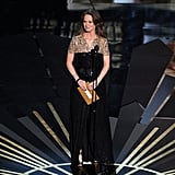 Melissa Leo presented an award onstage at the 2012 Oscars.