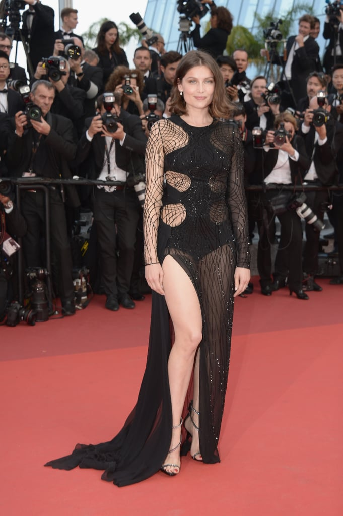 Laetitia Casta gave flashes of skin in a sheer Atelier Versace gown in 2016.