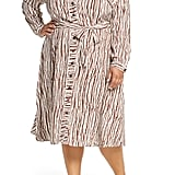 ELOQUII Opposting Stripes Long-Sleeve Shirtdress