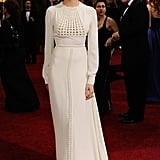 Shailene Woodley wore white Valentino Couture to the 2012 Academy Awards.