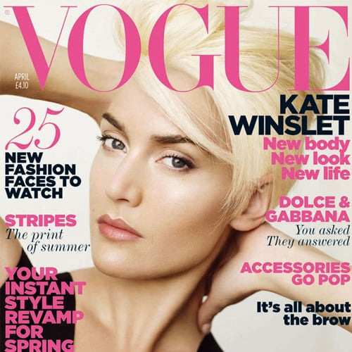 Kate Winslet Wears a Short Blond Hairstyle on British Vogue's April Cover