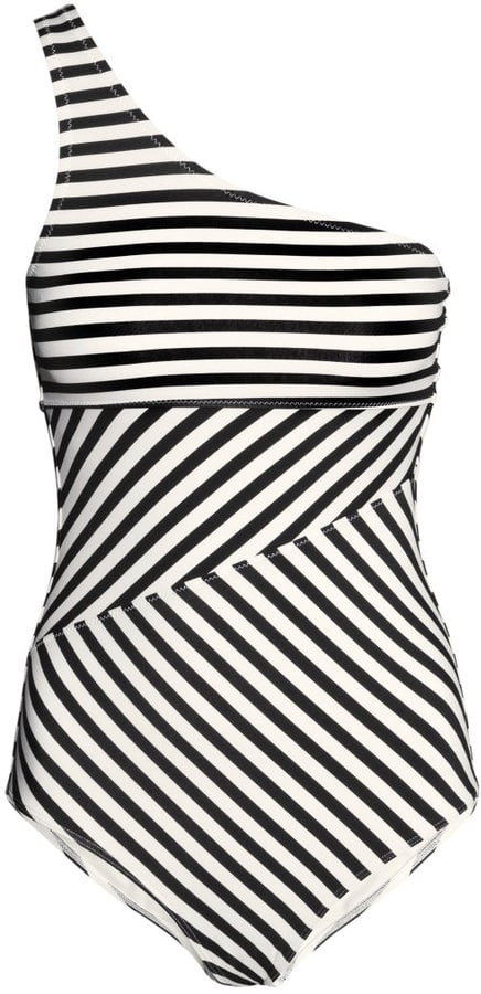 H&M Striped One-Shoulder Swimsuit