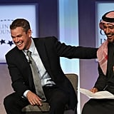 Matt Damon brought the LOLs to discussion at the Clinton Global Initiative event in New York. He's pictured here with Mohamed Parham Al Awadhi, the co-founder of Peeta Planet.