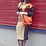 Ditch the suit jacket and wear your pencil skirt with a bomber for a this-season style twist.