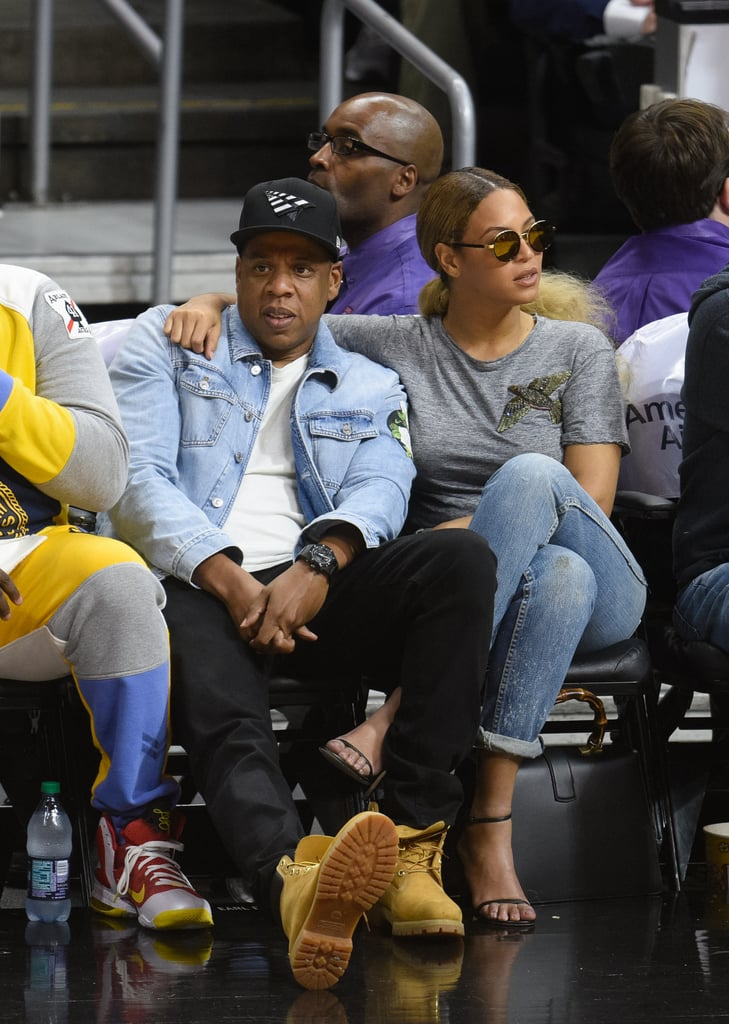 The duo did denim right front row at the Brooklyn Nets game in LA in February 2016.