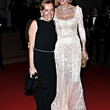 Eva Herzigova pose with Caroline Gruosi-Scheufele at the opening night dinner of the Cannes Film Festival.