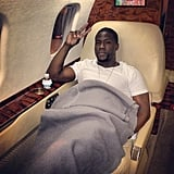 Kevin Hart got cozy on his private plane. Source: Instagram user kevinhart4real