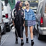 Hailey Baldwin Was Spotted Wearing a Denim Jacket That Featured Flannel Accents