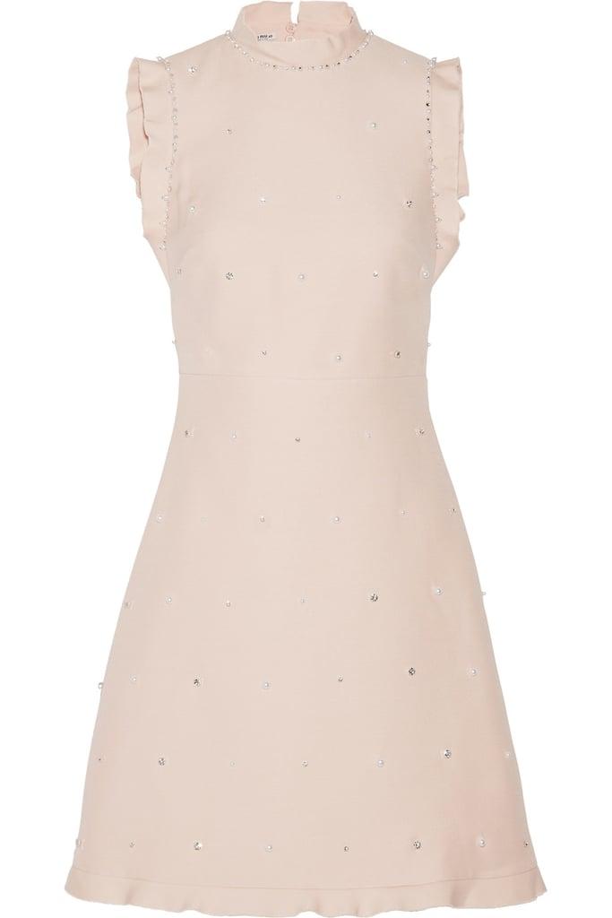 3ebb6a1c766 Miu Miu Ruffle-Trimmed Embellished Wool and Silk-Blend Mini Dress ...