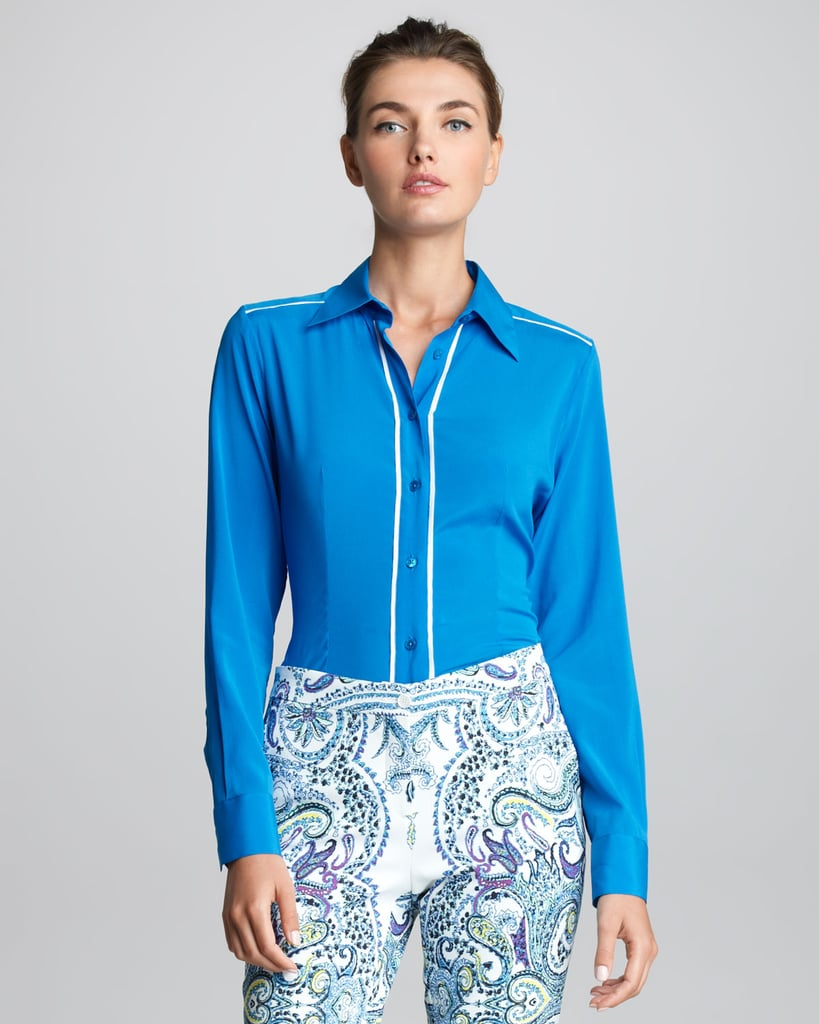 White piping pops against the sky blue of this Etro style ($249, originally $555).