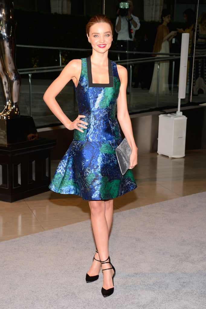 Miranda Kerr wore a colorful Proenza Schouler dress for the CFDA Awards in NYC.