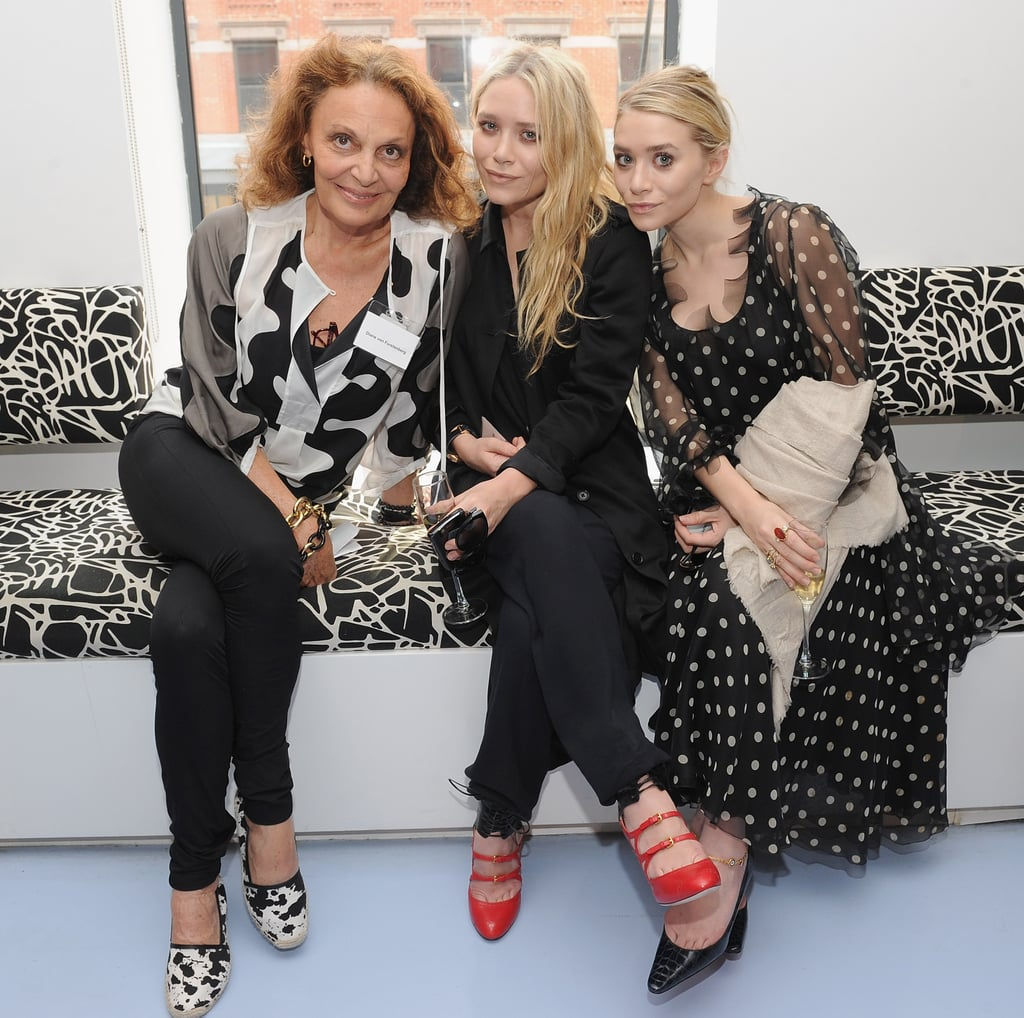 Mary-Kate and Ashley Olsen joined Diane von Furstenberg yesterday for the CFDA's biannual membership meeting held at DvF's studios. The girls are longtime members of the designer organization, though they were nominated for their first award from the CFDA just a few months ago. Mary-Kate and Ashley are in the Big Apple focusing on their fashion endeavors while their little sister, Elizabeth Olsen, appeared at the Cannes Film Festival. Lizzy showed support for her siblings by sporting two outfits from The Row to press appearances on behalf of her film Martha Marcy May Marlene. Her gown and flat sandals combo is already starting trends while other Olsen fans are wanting to try Lizzy's unique hairstyles.