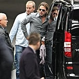 Brad Pitt leaves London.