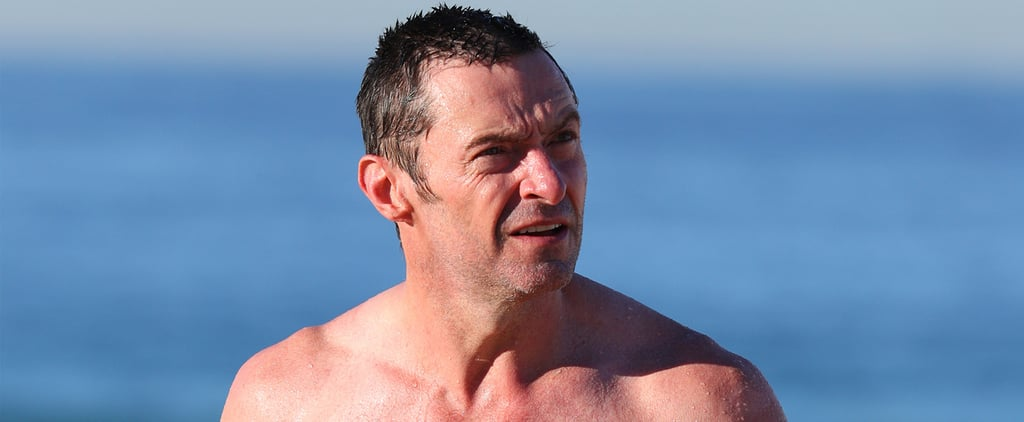Hugh Jackman Takes a Break From Filming and Shows Off His Ripped Body on the Beach