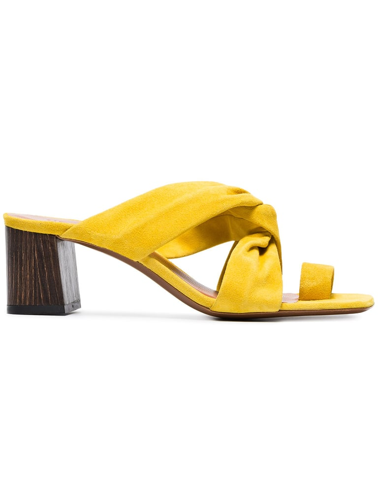 d5bebfe31a29 Emma Roberts Wearing Nine West Yellow Sandals