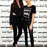 With Hailey Baldwin at the Karl Lagerfeld Paris launch event in New York City on Oct. 18.