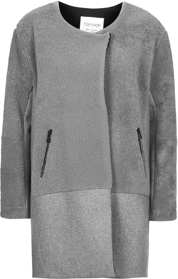 Topshop Shearling Wool Throw On Coat