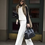 Olivia Palermo was all smiles in chic Winter white — and with a Givenchy satchel in tow. Source: Le 21ème | Adam Katz Sinding