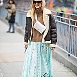 Winter Outfit Idea: A Shearling Jacket and Long Skirt