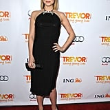 Glee's Dianna Agron opted for an elegant black halter dress at Trevor's event.