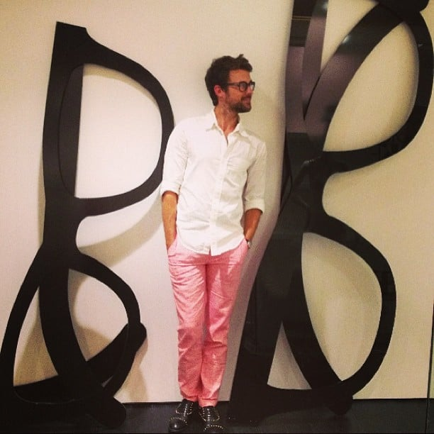 Brad Goreski was surrounded by giant versions of his signature specs. Source: Instagram user mrbradgoreski