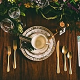 Blue, Gold, and White Tableware