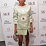 Solange Knowles made a statement in Prada while at MoMA for the Blue Jasmine screening.