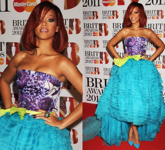 Photos of Rihanna at the 2011 Brit Awards in Christian Dior Couture
