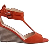 For bright measure, just add lots of orange.  Marais USA T-Bar Wedge in Clay ($160)